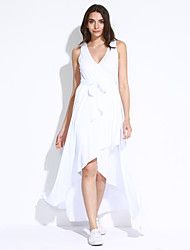 Women's Casual/Daily Sexy / Simple Swing Pleated Bandage Slim Dress Solid V Neck Asymmetrical Sleeveless