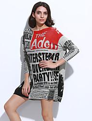 Damen Lang Pullover-Lässig/Alltäglich Übergröße Boho Street Schick Buchstabe Weiß Beige Grau Rundhalsausschnitt Langarm Wolle Acryl Nylon
