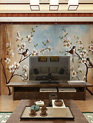 JAMMORY 3D Fashion Wallpapers Personality Seamless Wall Covering Simple Modern Murals Birds Flowering Tree Background Wall XL XXL XXXL