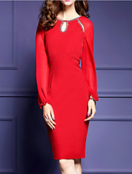Women's Going out Formal Sexy Bodycon Dress,Solid Round Neck Above Knee Long Sleeve Polyester Red Black Spring Fall Mid Rise Micro-elastic