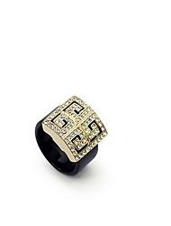 Jewelry Women Alloy Zircon Women Golden Square Ring
