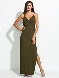 Women's Casual/Daily / Party Sexy / Simple Sheath DressSolid Criss-Cross Split Backless Strap Maxi Sleeveles