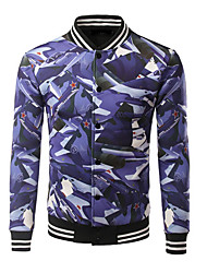 Men's Going out Casual/Daily Sports Active Jackets,Print Stand Long Sleeve Spring Fall Purple Polyester Medium