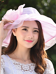 Fashion Summer New Lady Flower Ribbon Flower Large Bilateral Cap Along The Foldable Sunscreen Beach Hat
