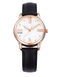 Women's Fashion Watch Quartz Genuine Leather Rose Gold Plated Band Casual Black Red Orange Green Rose
