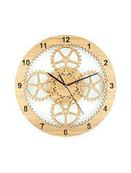 Fashion Creative Bamboo Planetary Gear Mute Wall Clock