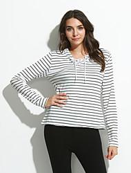 Damen Gestreift Sexy Street Schick Lässig/Alltäglich T-shirt,V-Ausschnitt Frühling Herbst Langarm Polyester Mittel