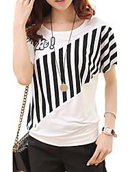 Tee-shirt Femme,Imprimé Décontracté / Quotidien Grandes Tailles Chic de Rue Eté Manches Courtes Col Arrondi Blanc Noir Coton Rayonne Fin
