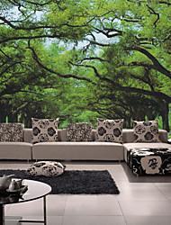Árboles y Hojas Fondo de pantalla Para el hogar Contemporáneo Revestimiento de pared , Lienzo Material adhesiva requerida Mural ,
