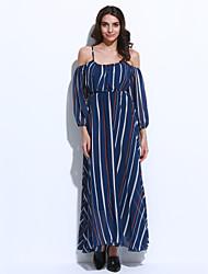 Mulheres Swing Vestido,Férias Simples Listrado Com Alças Longo Manga ¾ Azul Poliéster Outono