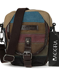 Women Canvas Crossbody Bag Waist Bag Stripes Zipper Leather Hasp Front Pocket