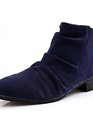 Men's Boots Spring / Fall Comfort Cowhide Casual Low Heel Ruffles Black / Blue / Brown Others