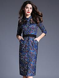 Feminino Evasê Vestido, Para Noite Sofisticado Estampado Colarinho Chinês Altura dos Joelhos Manga ¾ Azul Poliéster PrimaveraCintura