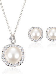 Women Wedding Party Bridal Crystal Pearl Pendant Necklace Earring Set