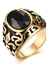 Men's Fashion Vintage Stainless Steel Engraved Personality Agate Jewelry Onyx Rings Casual/Daily/Party 1pc