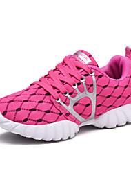 Черный Бледно-розовый цвет Светло-синий-Для женщин-Для прогулок Для занятий спортом-Полиуретан-На плоской подошвеСпортивная обувь