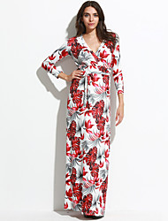 Women's Boho Plus Size Sexy / Boho Loose Dress,Floral V Neck Maxi Long Sleeve Red Polyester Spring / Fall