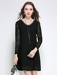Women's Plus Size Going out Casual/Daily Sexy Simple A Line Sheath Dress,Floral Lace Cut Out V Neck Above Knee Long SleeveCotton