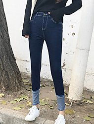 Women's Skinny Jeans Pants,Going out Simple Solid Mid Rise Elasticity Others Micro-elastic Fall Winter