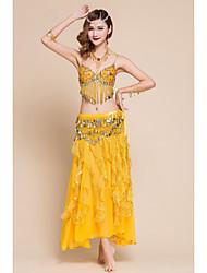 Nós roupas de dança do ventre mulheres chiffon spandex pérolas ruffles