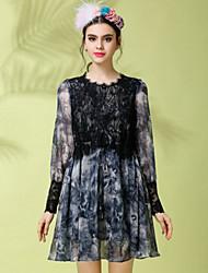 Women Vintage Elegant Fashion Lace Print Patchwork Elastic Waist Long Sleeve Plus Size Chiffon Fake Two Piece Dress