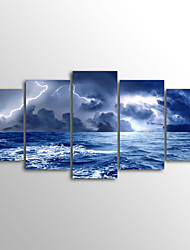 Canvas Set Unframed Canvas Print Lighting Sea Landscape ModernFive Panels Canvas Horizontal Print Wall Decor For Home Decoration