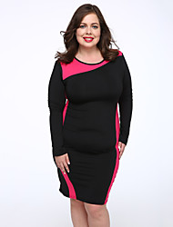 Women's Plus Size Going out Sophisticated Shift Dress,Geometric Boat Neck Knee-length Long Sleeve Red White Green Cotton Polyester Fall