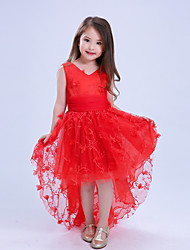 Girl's Casual/Daily Party/Cocktail Holiday Solid Dress,Cotton Polyester Lace Mesh Summer Sleeveless