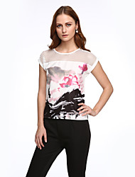 Women's Patchwork White Blouse,Round Neck Short Sleeve