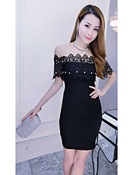 Women's Going out Sexy Bodycon Dress,Solid Polka Dot Boat Neck Midi Short Sleeve White Black Cotton Summer Low Rise Micro-elastic Medium