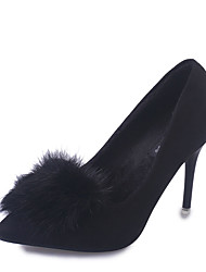 Women's Heels Fall Winter Comfort PU Casual Low Heel Feather Black Gray Camel Other