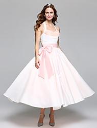 2017 Lanting Bride® A-line Wedding Dress Simply Sublime Tea-length Halter Satin Tulle with Bow Sash / Ribbon