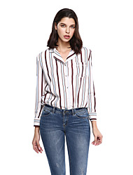 Women's Plus Size Formal Sophisticated Shirt,Striped Notch Lapel Long Sleeve Pink Cotton Polyester