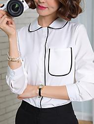 Feminino Blusa Casual Formal Trabalho Simples Sofisticado Primavera Outono,Sólido Branco Algodão Raiom Poliéster Colarinho de CamisaManga