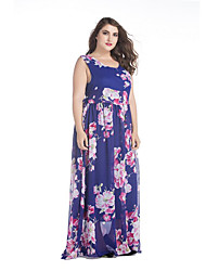 Dames Grote maten Eenvoudig Chiffon Jurk Print-Diepe U-hals Maxi Mouwloos Blauw Polyester Lente Zomer Medium taille Micro-elastisch Medium