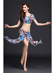 Belly Dance Outfits Women's Performance Modal Pattern/Print 2 Pieces Short Sleeve Dropped Top Skirt
