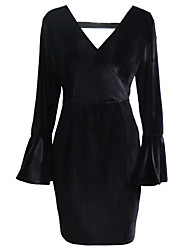 Women's Casual/Daily Party/Cocktail Sexy Street chic Sheath Dress,Solid V Neck Above Knee Long Sleeve Black Cotton Polyester Spring Fall