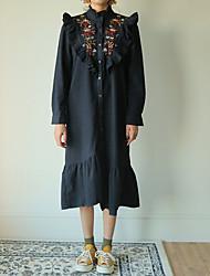 Ample Robe Femme Décontracté / Quotidien simple,Couleur Pleine Col Arrondi Midi Manches Longues Bleu Polyester Printemps Taille Normale