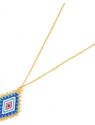 Women's Pendant Necklaces Crystal Gold Plated Geometric Fashion Yellow Blue Jewelry Birthday Daily 1pc