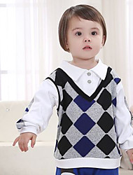 Boy's Cotton Fashion Spring/Fall Going out/Casual/Daily False Two-piece Long Sleeve Plaid T-shirt Kid Undershirt Blouse