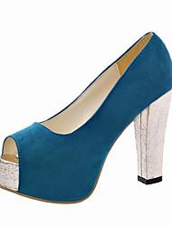 Damen-High Heels-Outddor-PU-Blockabsatz-Komfort-Schwarz Blau