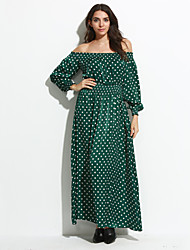 Women's Casual/Daily Sexy Swing Dress,Polka Dot Boat Neck Maxi Long Sleeve Green Polyester Fall / Winter