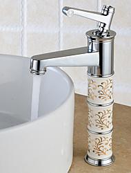 Contemporâneo Conjunto Central Spray Amplo with  Válvula Cerâmica Monocomando e Uma Abertura for  Cromado , Torneira pia do banheiro