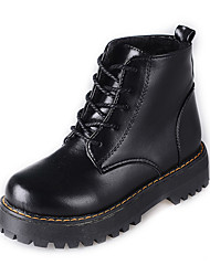 Women's Boots Winter Platform PU Outdoor Office & Career Casual Low Heel Lace-up Black Light Brown