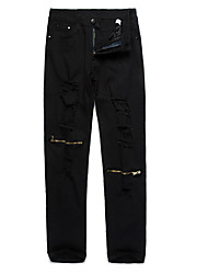 Men's Skinny Jeans Pants,Casual/Daily Simple Solid Low Rise Zipper Cotton Micro-elastic Spring Fall