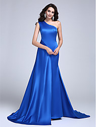 A-Line One Shoulder Court Train Satin Formal Evening Dress with Pleats by TS Couture®
