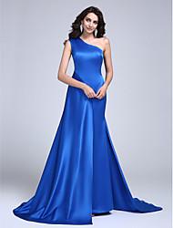 Ts couture vestido de noite formal - celebridade estilo uma linha de um ombro tribunal trem cetim com pregas