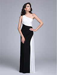 TS Couture Formal Evening Dress - Color Block Sheath / Column One Shoulder Floor-length Jersey with Side Draping