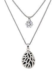 Feminino Colares com Pendentes Caído Lágrima Strass imitação de diamante Liga Moda Dupla camada Prata Jóias Para Festa Diário 1peça