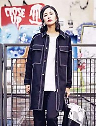 AUDREY WANG silhouette black denim jacket denim jacket bf wind oversize Europe Street beat